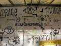 Fresque murale réalisée par les femmes détenues dans la cour de promenade de la prison Montluc